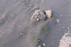Den vulkanske aske føg som fint sand